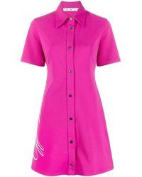 Off-White c/o Virgil Abloh - Pink Logo-print Shirt Dress - Lyst