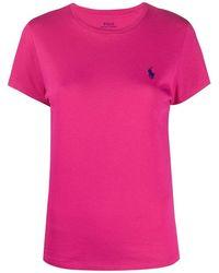 Ralph Lauren Women's 211734144022 Fuchsia Cotton T-shirt - Pink