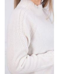 Kinross Cashmere Sleeve Detail Rib Funnel Neck - White