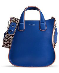 Thale Blanc Gisele Small Tote: Designer Tote Bag In Blue Leather