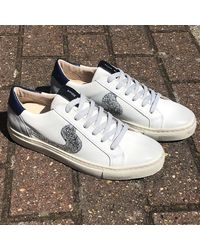 Shoe Biz Copenhagen Shoe Biz Void , Blue, Grey, Silver Trainers , Title:whtblugrysil - White