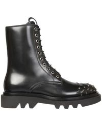 Givenchy Combat Boots With Studs - Black