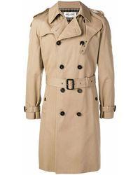 Saint Laurent Saint Laurent Men's 337872y039w9772 Beige Cotton Trench Coat - Brown