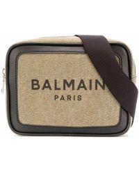 Balmain Men's Vm1s143tcsyubk Beige Fabric Messenger Bag - Brown