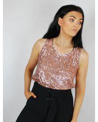Luisa Cerano Sequin Sleeveless Blouse Rose Gold - Metallic