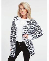 Guess Coat In A Super Soft Viscose Blend - White