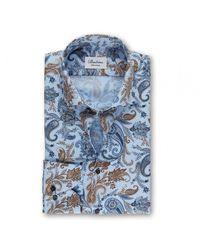 Stenströms Men's 612901 7831 111 Paisley Print Shirt - Blue