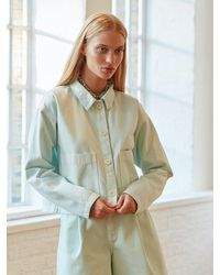 ALIGNE Cyprus Wide Shacket With Pocket In Pale Water , - White