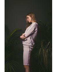 Haris Cotton Cotton Knee-length Pencil Skirt - Purple