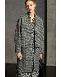 Luisa Cerano Houndstooth Coat - Grey