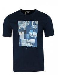 Canali Crew Printed T-shirt (navy) - Blue