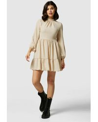 Closet Beige High Collar Mini Dress - Natural