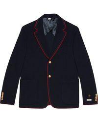 Gucci Contrast Trim Blazer Jacket - Blue