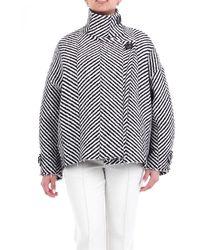 Erika Cavallini Semi Couture Outerwear Short And White - Black