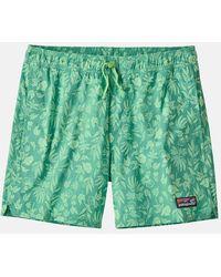 "Patagonia Stretch Wavefarer Volley Shorts (16"", Fibre Flora) - Light Beryl Green"