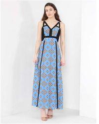 Silvian Heach Inarzo Panel Printed Maxi Dress Colour: Blue/black, Size