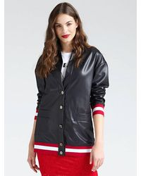 Guess Long Coated-look Bomber - Black