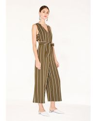 Paisie Striped Jumpsuit With Side Cut Outs (with Self Belt) - Green