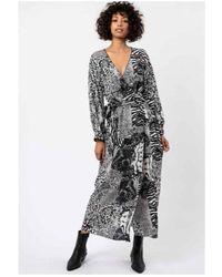 Religion Slience Maxi Wrap Dress White - Black