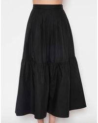 Giambattista Valli Cotton Poplin Full Midi Skirt - Black