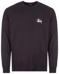 Stussy Long Sleeve T-shirt Basic Logo - Black