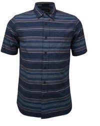 Pendleton Kay Street Ss Shirt Indigo Stripe - Blue