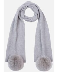 Max & Moi Ribbed Knit Scarf With Pompoms - Grey