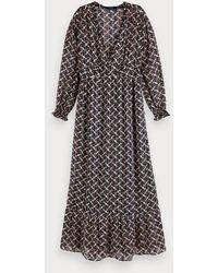 Scotch & Soda Sheer Geometric Print Long Sleeve Maxi Dress - Multicolour