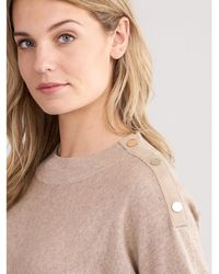 Repeat Cashmere - High Neck Sweater With Suede Leather Details - Lyst