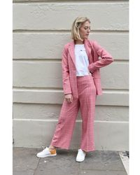 Just Female Maxime Rose Check Blazer - Pink