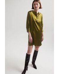 Lindsay Nicholas New York Silk Shirt Dress In Chartreuse - Green