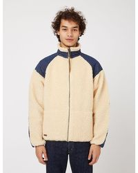 Slowear Orslow Fleece Jacket - Ecru - Blue
