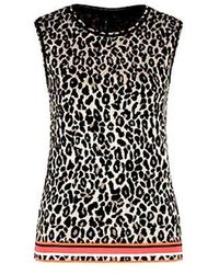 Marc Cain Collections Jacquard-knit Top Leopard Print Nc 61.07 M19 - Multicolor