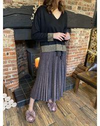 Sfizio Bronze Lurex Pleated Skirt - Grey