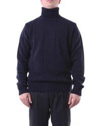 Jeordie's Knitwear High Neck Navy - Blue
