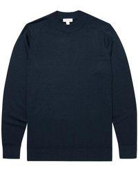 Sunspel Fine Merino Wool Mock-neck Jumper - Light Navy - Blue