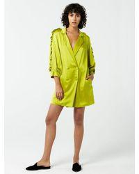 Hayley Menzies Tux Silk Satin Mini Dress - Green