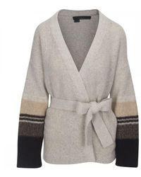 360cashmere Esme Tie Stripe Cardigan Colour: Hazel/black/aqua - Grey