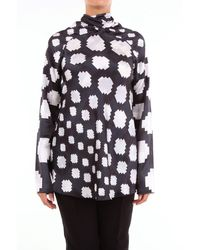 Marni Two-colored Blouse With Geometric Pattern - Black