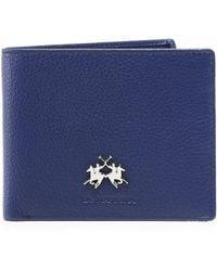 La Martina Tumbled Leather Ambrosio Coin Wallet Colour: Navy - Blue