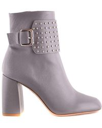 RED Valentino Gray Leather Ankle Boots