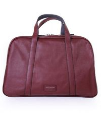 Ted Baker Mens Traves Leather Holdall - Red