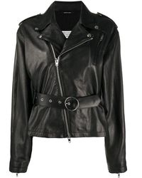 Maison Margiela Women's S51am0380sy1450900 Black Leather Outerwear Jacket