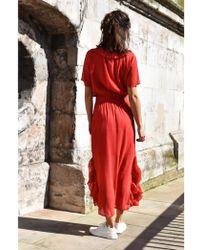 Just Female Viola Cranberry Red Maxi Dress