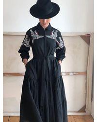 Tallulah & Hope Zip Front Dress Jay Bird Multi Embroidered On Black - Blue