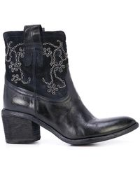 Fauzian Jeunesse Navy Mid Ankle Embroidery Boot - Blue