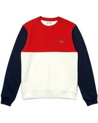Lacoste Color Block Crew Neck Sweat Sh5185 - Red