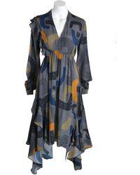 Conditions Apply Dress Ca49459 Midi 70s Style - Grey