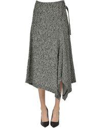 Y's Yohji Yamamoto Wraparound Wool Midi Skirt - Black