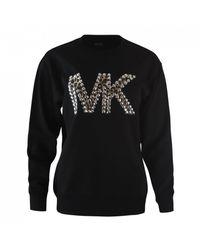 Michael Kors Cheetah Mk Logo Sweatshirt - Black